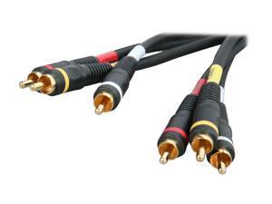 BYTECC Model PV2A-12 12 ft. PREMIUM YRW video/audio AV Cable - GOLD Plated,Black Jacket