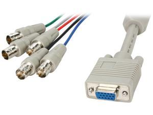 BYTECC HD15F/5BNCF-1 1 ft. HD15 to BNCx5 Cable, Female to Female, Beige