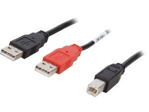 C2G 28108 USB Cable - USB 2.0 One B Male to Two A Male Y-Cable, Black (6 Feet, 1.82 Meters)