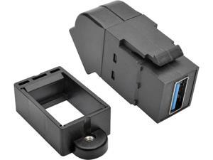 Tripp Lite USB 3.0 Keystone Panel Mount Coupler Angled F/F All in One Black (U325-000-KPA-BK)