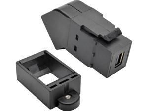 Tripp Lite Mini DisplayPort to DisplayPort All-in-One Keystone/Panel Mount Angled Adapter, MDP to DP (F/F), Black (P169-000-KPA-BK)