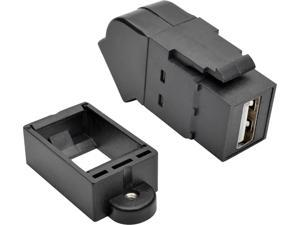 Tripp Lite U060-000-KPA-BK USB 2.0 All-in-One Keystone/Panel Mount Angled Coupler (F/F), Black