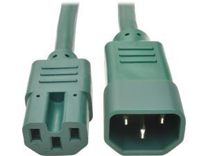 Tripp Lite Heavy-Duty Computer Power Cord, 15A, 14 AWG (IEC-320-C14 to IEC-320-C15), Green, 3 ft. (P018-003-AGN)
