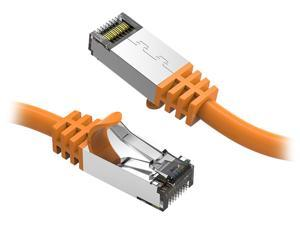 Nippon Labs 60CAT8-0.5-26OR Cat8 Ethernet Cable 0.5 feet Slim Series - Orange   2GHz, 40G, S/FTP - Shielded 40Gbps 2000Mhz SFTP Patch Cord,Cat8 RJ45 Cable - in Wall, Outdoor for Router, Modem, etc.