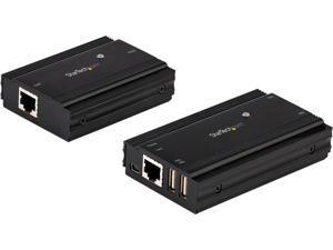 4 Port USB 2.0 Extender Hub over Single CAT5e/CAT6 Ethernet Cable (RJ45), 330ft (100m), USB Extender Adapter, Externally Powered, 480 Mbps, Metal USB Extender Kit - Power/Link LEDs (USB2004EXT100)