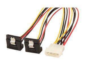 """StarTech.com PYO2LP4LSATR 12"""" LP4 to 2x Right Angle Latching SATA Power Y Cable Splitter - 4 Pin Molex to Dual SATA"""