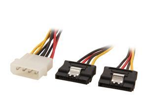 StarTech.com PYO2LP4LSATA 1 ft. LP4 to 2x Latching SATA Power Y Cable Splitter Adapter - 4 Pin Molex to Dual SATA