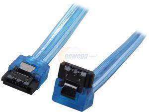 "Coboc Model SC-SATA3-10-LL-BL-90 10"" 90 Degree to 180 Degree SATA III 6Gb/s Data Cable w/Latch,UV Blue"