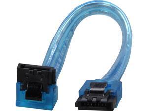 "Coboc Model SC-SATA3-6-LL-BL-90 6"" 90 Degree to 180 Degree SATA III 6Gb/s Data Cable w/Latch,UV Blue"