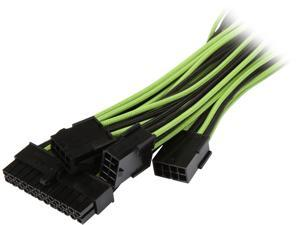 BitFenix Alchemy 2.0 Extension Cable KIT (High Current Alloy Terminals, Pure Copper Strand Cables) Black& Green Sleeve/Black Connector, 2 x 6+2 pin video card extension 45cm , 1 x 4+4 pin motherboard