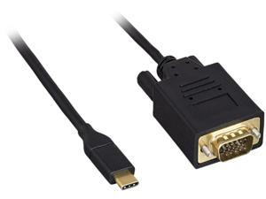 Kaybles USB 3.1 Type C Male to VGA Male Cable, 10ft. M-M, Black Adapter Cable