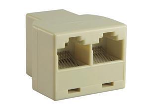 Insten 675688 RJ45 1x2 Ethernet Connector Splitter, Light Beige