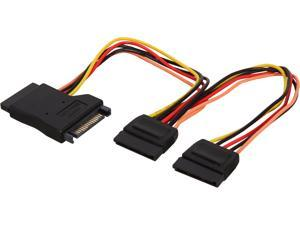 """Nippon Labs SATA-15P-Y-0.6FT 12"""" SATA 15 Pin Power Male to 2 x SATA 15 Pin Female Adapter Y Cable Splitter"""