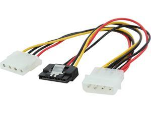 Nippon Labs SATA4PMF-Y4PMM 8 in. 4pin MOLEX Male to 15pin SATA II and 4pin MOLEX Female Power Cable