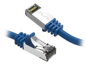 Nippon Labs 60CAT8-10-26BU Cat8 Ethernet Cable 10 feet Slim Series - Blue   2GHz, 40G, S/FTP - Shielded 40Gbps 2000Mhz SFTP Patch Cord,Cat8 RJ45 Cable - in Wall, Outdoor for Router, Modem, etc.