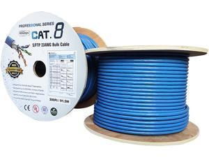 Nippon Labs Cat8 Ethernet Cable Bulk Wire 300 feet - Blue, 2GHz, 40G, 23AWG, S/FTP - Shielded Latest 40Gbps 2000Mhz SFTP, PVC, Solid Conductor Patch Cord, 60CAT8-300-23BL