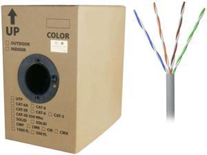 Nippon Labs 50CP-350-SD-1K-GY 1000 ft. Bare Copper 24AWG CMR UTP Cat5e Bulk Cable, 350MHz, Solid Wire - Gray
