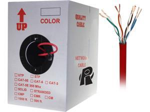 Nippon Labs 50CP-C6-ST-1K-RD 1000 ft. Bare Copper 24AWG Cat6 Bulk Cable, Stranded Wire - Red
