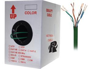 Nippon Labs 50CP-C6-ST-1K-GN 1000 ft. Bare Copper 24AWG Cat6 Bulk Cable, Stranded Wire - Green