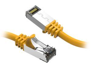 Nippon Labs 60CAT8-0.5-26YW Cat8 Ethernet Cable 0.5 feet Slim Series - Yellow   2GHz, 40G, S/FTP - Shielded 40Gbps 2000Mhz SFTP Patch Cord, Cat8 RJ45 Cable - in Wall, Outdoor for Router, Modem, etc.