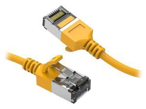 Nippon Labs 60CAT8-0.5-30YW 0.5 ft. Cat 8 Yellow U/FTP Slim Ethernet Network Cable 30AWG - Latest 40Gbps 2000Mhz RJ45 Patch Cord