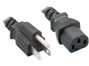 Nippon Labs 16 AWG Standard Power Cord NEMA 5-15P to C13, NEMA5-15P/IEC320 C13, SJT, 13A, 125V, 3ft. Black Cable