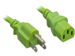 Nippon Labs 18 AWG Green Standard Power Cord NEMA 5-15P to C13, NEMA5-15P/IEC320 C13, SJT, 10A, 125V, 10ft.