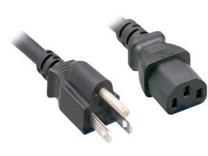 Nippon Labs 18 AWG Standard Power Cord NEMA 5-15P to C13, SVT, 10A, 125V, NEMA5-15P/IEC320 C13, 5ft. Black Cable