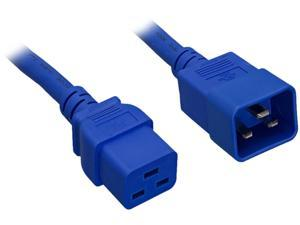 Nippon Labs 12 AWG C20 to C19 Universal Jumper Power Cord, IEC320 C19/C20 SJT 20A 250V 2 ft. - Blue