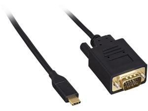 Nippon Labs USB 3.1 Type C Male to VGA Male Cable, 10 ft. M-M, Black Adapter Cable