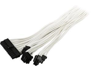 Phanteks PH-CB-CMBO_WT Universal Extension Cables Kit (PH-CB-CMBO) - 1x 24pin ATX, 1x 8pin (4+4) EPS, 2x 8pin (6+2) PCI-e Extension, 500mm Length, Individually Sleeved, White Color