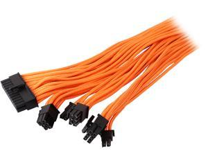 Phanteks PH-CB-CMBO_OR Universal Extension Cables Kit (PH-CB-CMBO) - 1x 24pin ATX, 1x 8pin (4+4) EPS, 2x 8pin (6+2) PCI-e Extension, 500mm Length, Individually Sleeved, Orange Color