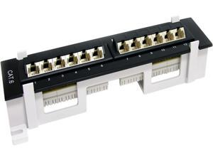 StarTech.com C6PANL4512 12 Port CAT6 Patch Panel At And T 110 Angled
