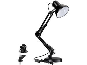 TORCHSTAR Metal Swing Arm Desk Lamp, Interchangeable Base Or Clamp, Classic Architect Clip On Table Lamp, Multi-Joint, Adjustable Arm, Black Finish