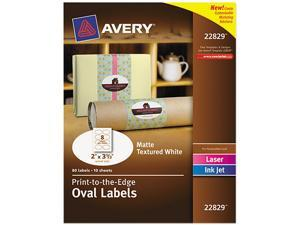 Oval Print-to-the-Edge Easy Peel Labels Laser Matte White 2 x 3 1/3 80/Pack