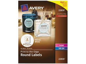 "Avery Round True Print Labels 2 1/2"" dia White 90/Pack 22830"