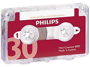 Philips LFH000560 Audio & Dictation Mini Cassette, 30 Minutes (15 x 2), 10/Pack
