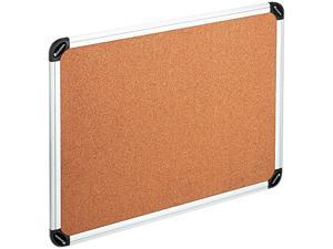 UNIVERSAL Cork Board with Aluminum Frame 24 x 18 Natural Silver Frame 43712