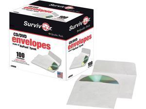 CD/DVD Sleeves, Moisture-Resistant TYVEK Material, 100/Box R7050