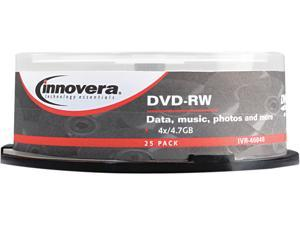 DVD-RW Discs, 4.7GB, 4x, Spindle, Silver, 25/Pack 46848