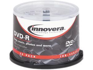 DVD-R Discs, Hub Printable, 4.7GB, 16x, Spindle, Matte White, 50/Pack 46830