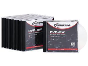 Dvd+Rw Discs, 4.7Gb, 4X, W/Slim Jewel Cases, Silver, 10/Pack