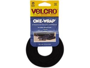 Reusable Self-Gripping Cable Ties, 1/4 X 8 Inches, Black, 25 Ties/Pack