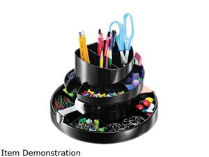 """Officemate Rotary Organizer 16 Compartments 10-1/4""""x10-1/4"""" 6-3/4"""" BK 26255"""