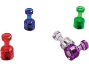 """Officemate Push Pin Magnets Assorted Translucent 3/4"""" x 3/8"""" 10 per Pack 92515"""