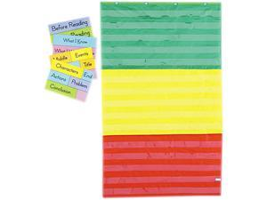 Adjustable Tri-Section Pocket Chart With 18 Color Cards, Guide, 36 X 6