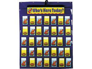 Attendance/Multiuse Pocket Chart, 35 Pockets/Two-Sided Cards, Blue, 30