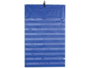 Original Pocket Chart With 10 Clear Pockets, Grommets, Blue, 33 3/4 X