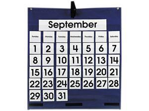 Monthly Calendar 43-Pocket Chart With Day/Week Cards, Blue, 25 X 28 1/