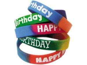 Two-Toned Happy Birthday Wristbands, Assorted Colors, 10/Pack